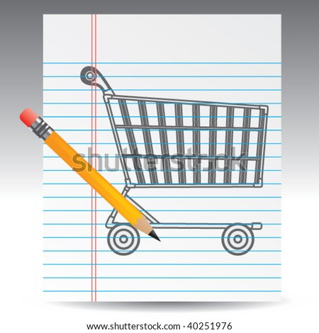 shopping cart drawing - stock vector