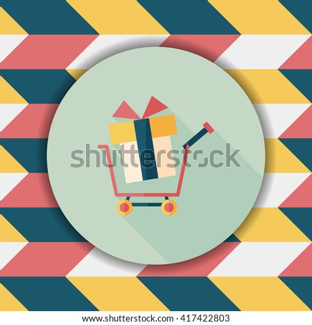 shopping cart flat icon with long shadow - stock vector