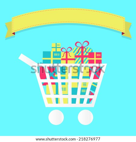 Shopping cart full of packages. Shopping cart full of packages and gifts. Blank ribbon for insert text. - stock vector