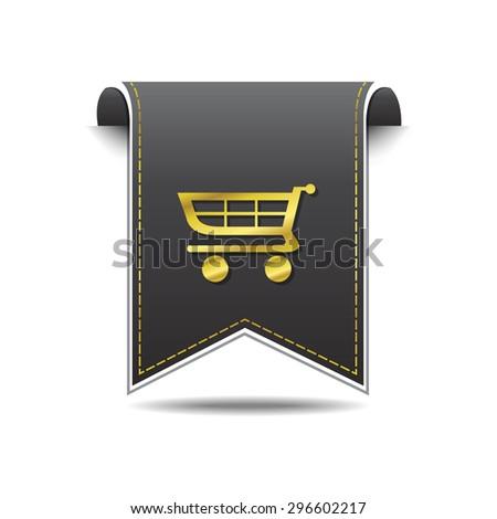 Shopping Cart golden Vector Icon Design - stock vector