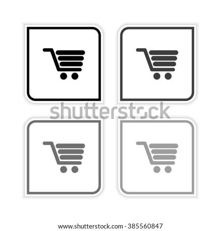 Shopping cart -  grayscale vector icon - stock vector