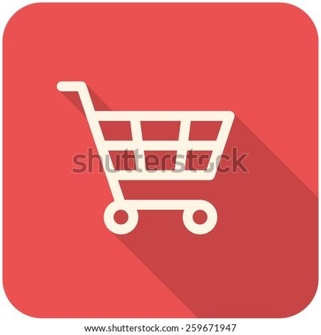 Shopping Cart icon (flat design with long shadows) - stock vector
