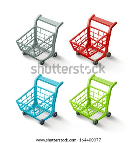 Shopping cart icon set, isolated - stock vector