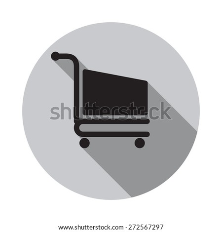 Shopping cart icon. Vector illustration flat design with long shadow - stock vector