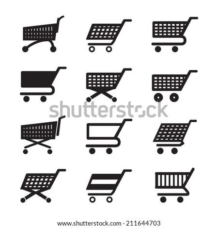 Shopping cart icons set - stock vector