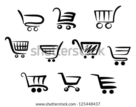 Shopping cart icons set for business and commerce projects, such as idea of emblems. Jpeg version also available in gallery - stock vector