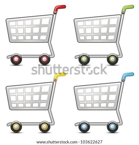 Shopping cart set - stock vector