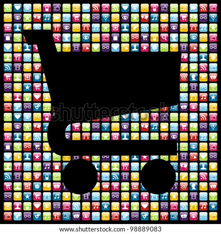 Shopping cart shape over phone application software icons background. Vector file layered for easy manipulation and customisation. - stock vector