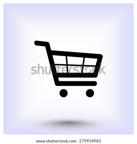 Shopping cart sign icon, vector illustration. Flat design style - stock vector