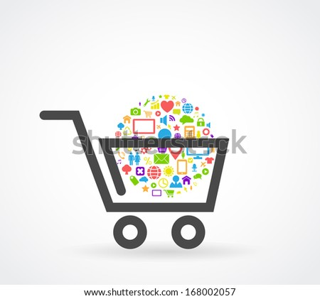 shopping cart social media concept - stock vector