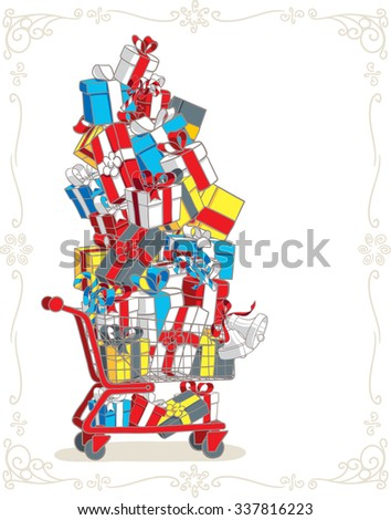 Shopping Cart Stacked with Presents Vector Cartoon - Vector illustration of a red shopping trolley full of gifts  - stock vector