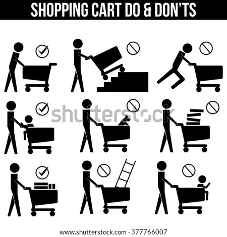 Shopping Cart Trolley Dos and Don'ts icon sign symbol pictogram vector info graphic - stock vector