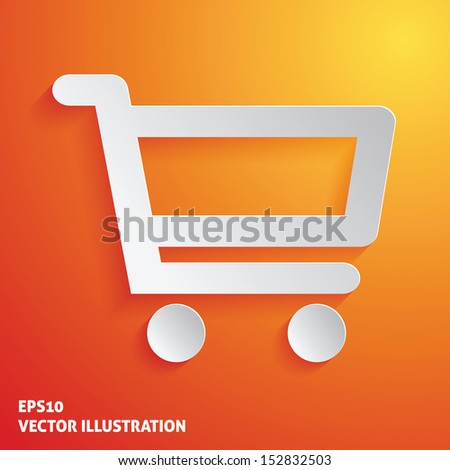 Shopping cart white icon on orange background. Vector illustration - stock vector