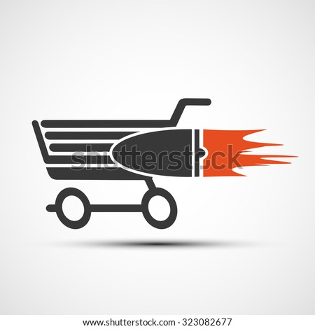 Shopping cart with a turbine. Stock vector image. - stock vector