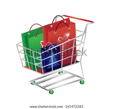 Shopping cart with Christmas paper bags. Vector illustration. - stock vector