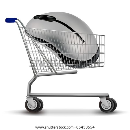 Shopping cart with mouse. Vector - stock vector