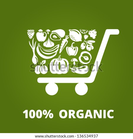 Shopping cart with organic fruits and vegetables. Vector illustration - stock vector