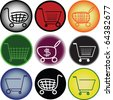 Shopping carts web buttons - stock vector