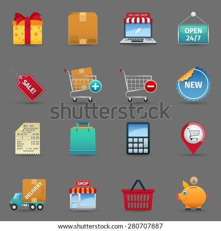 Shopping cash and online purchase and sale cartoon icons set on grey background shadow isolated vector illustration  - stock vector
