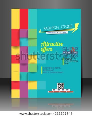 Shopping Center Store Flyer Template  - stock vector