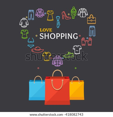 Shopping Clothing Season Concept with Paper Bag on a Dark. Vector illustration - stock vector