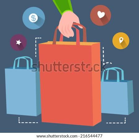 shopping concept  - flat design vector  - stock vector