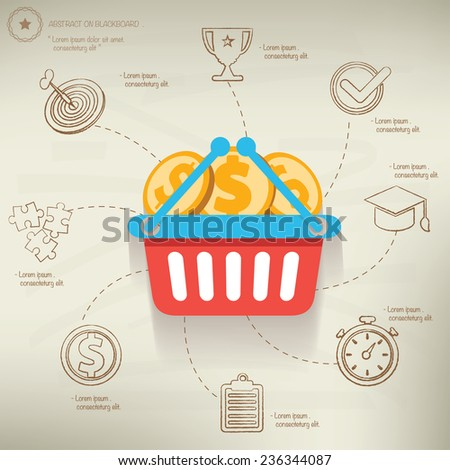 Shopping concept,info graphic design on old paper background,clean vector - stock vector