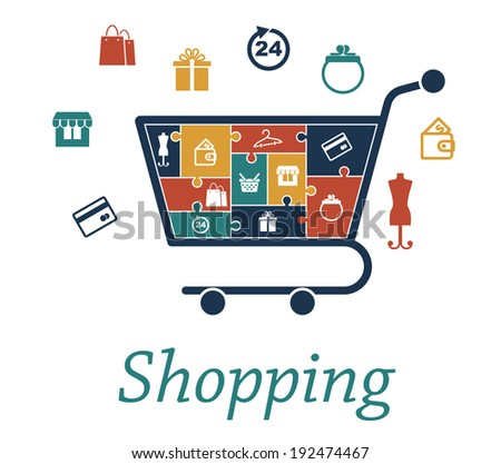 Shopping concept puzzles with a cart filled with icons of bank card, store, bags, gift, 24 hour, purse, wallet, mannequin, basket and hanger which also surround the trolley for infographic design - stock vector