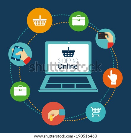 Shopping design over blue background, vector illustration - stock vector