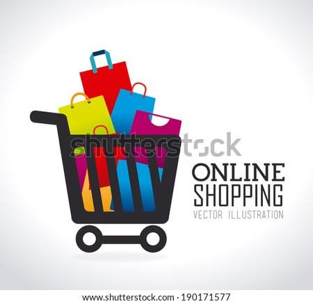 Shopping design over gray background, vector illustration - stock vector