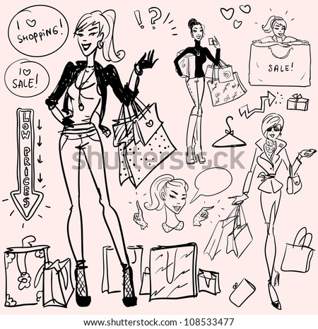 Shopping doodles, hand drawn set of pretty women with shopping bags - stock vector