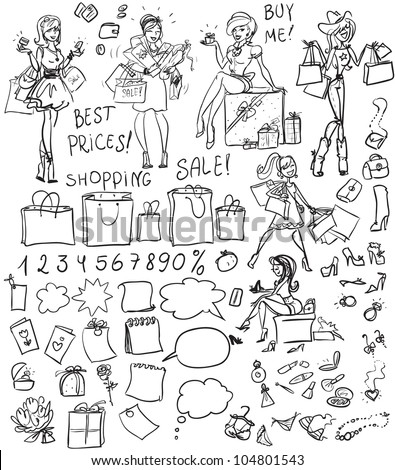 Shopping doodles, set - stock vector