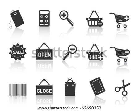 shopping e-commerce black icon set - stock vector