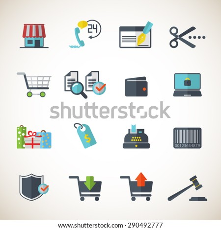 Shopping - Editable vector icons for video, mobile apps, Web sites and print projects. EPS10 vector. - stock vector
