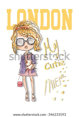shopping girl with london - stock vector