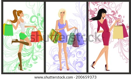 Shopping girl young beautiful women with fashion bags vertical banners with swirl decoration set isolated vector illustration - stock vector