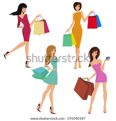 Shopping girl young sexy female figures with fashion bags isolated vector illustration - stock vector