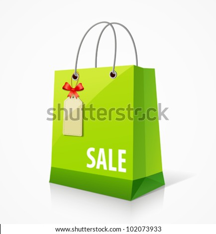 Shopping green paper bag empty, with tag and ribbon. vector illustration - stock vector