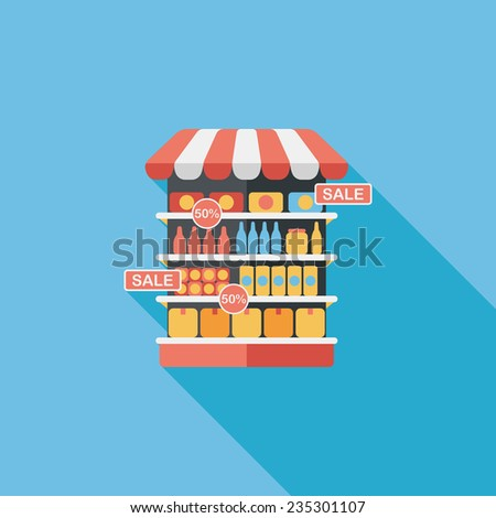 shopping grocery store flat icon with long shadow,eps10 - stock vector