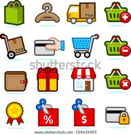 Shopping icon set B - stock vector
