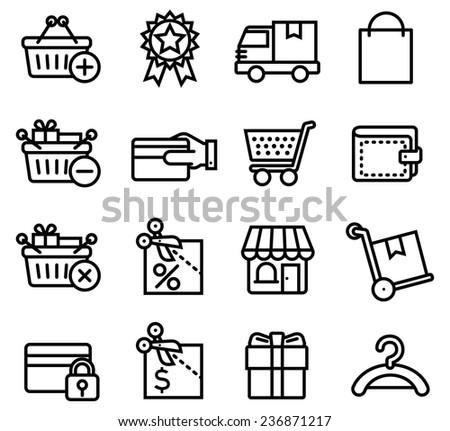 Shopping icon set B - flat style - stock vector