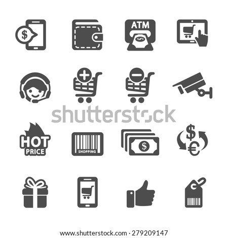 shopping icon set 3, vector eps10. - stock vector