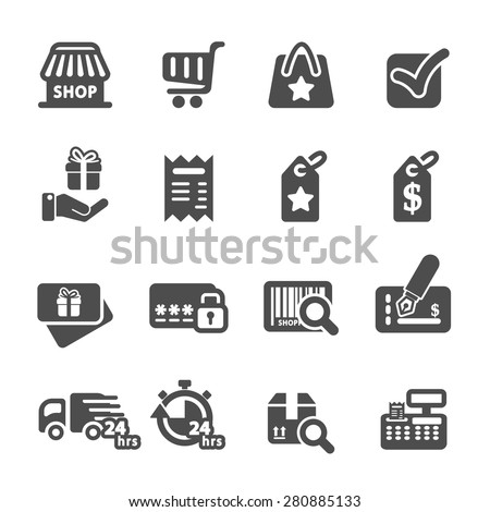 shopping icon set 6, vector eps10. - stock vector