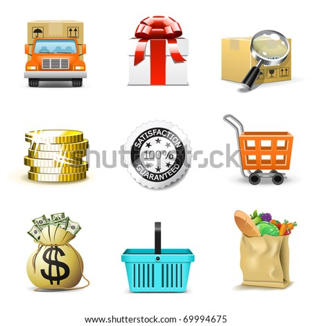 Shopping icons | Bella series, part 2 - stock vector