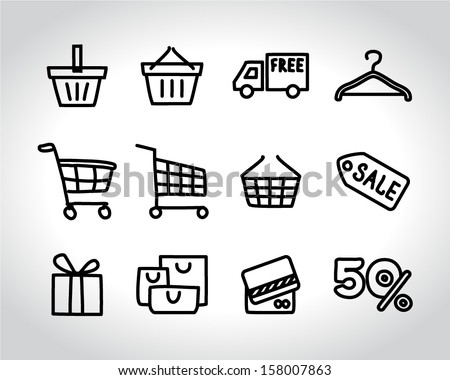 shopping icons doodle sketch - stock vector