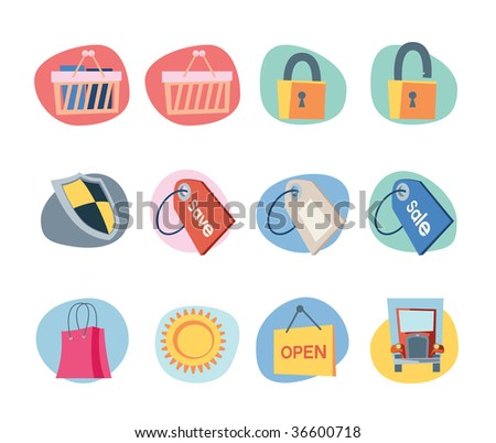 Shopping Icons Retro Revival Collection - Set 9 Professional Web icons collection for websites, applications or presentations. - stock vector