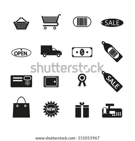 Shopping icons set - stock vector
