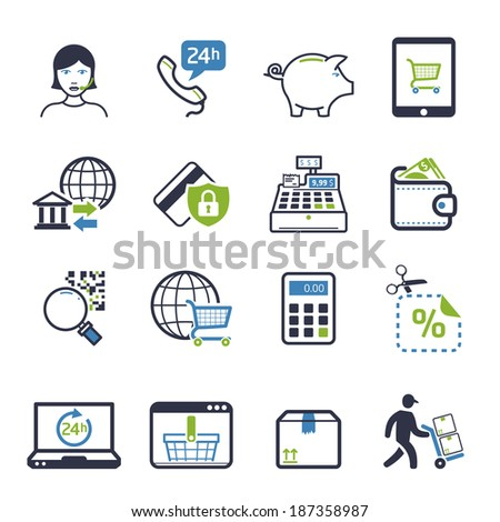 Shopping icons set 04 - stock vector