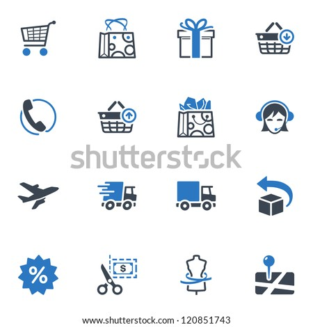 Shopping Icons Set 1 - Blue Series - stock vector