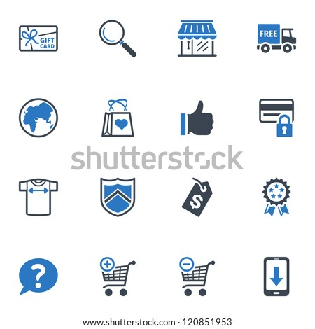 Shopping Icons Set 2 - Blue Series - stock vector